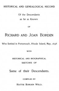 Richard and Joan Borden, Compiled by Hattie Weld, 1899